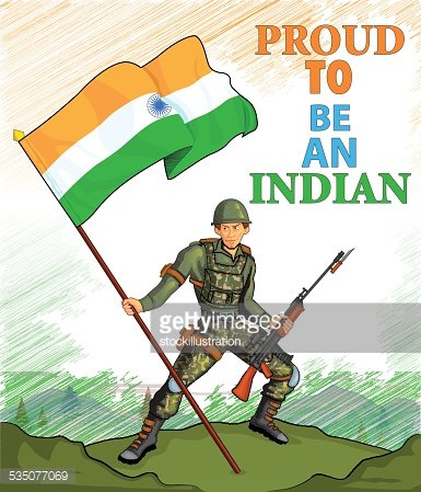 Indian Army Showing Victory of India premium clipart.