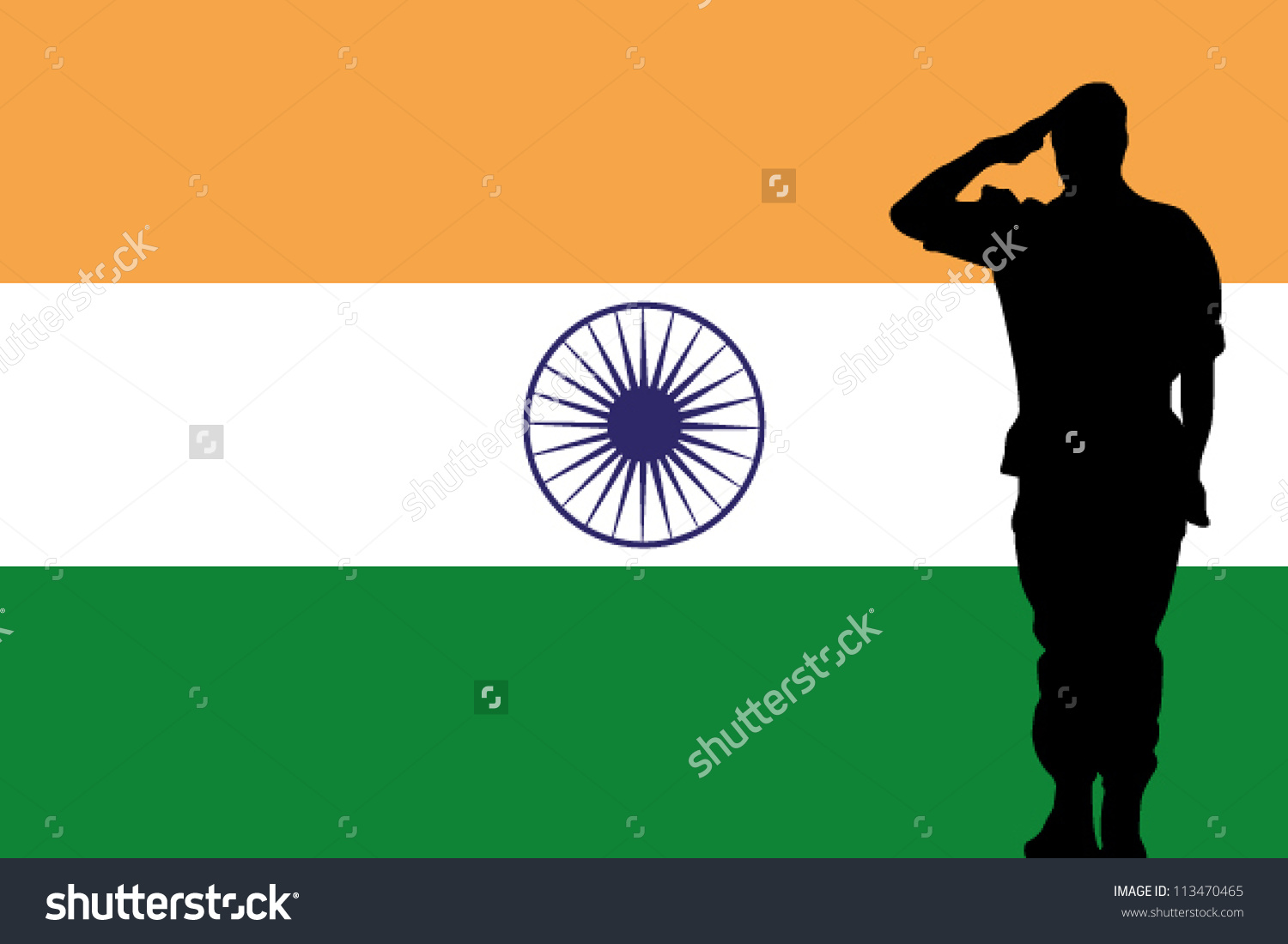 indian soldier salute clipart