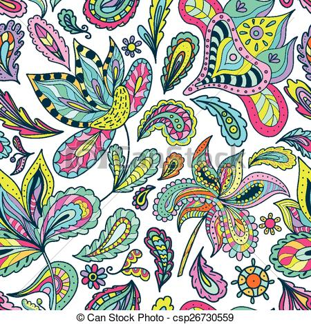 Clipart Vector of Summer Pattern with Indian Motifs.
