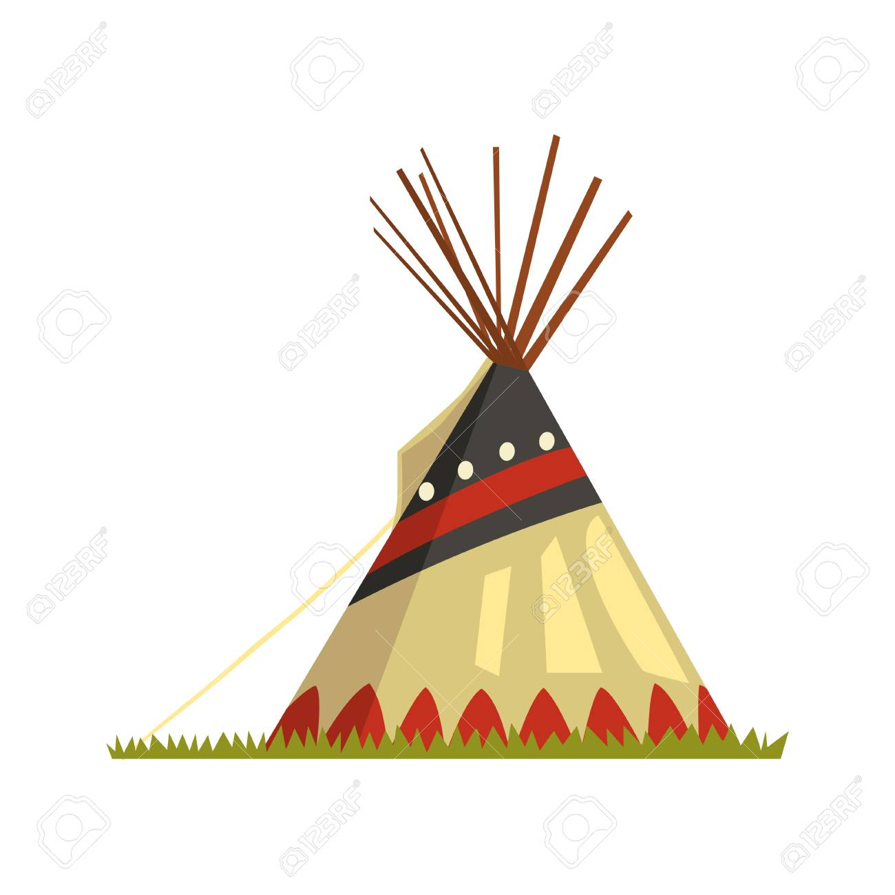 Teepee, tent or wigwam Native American dwelling vector illustration...