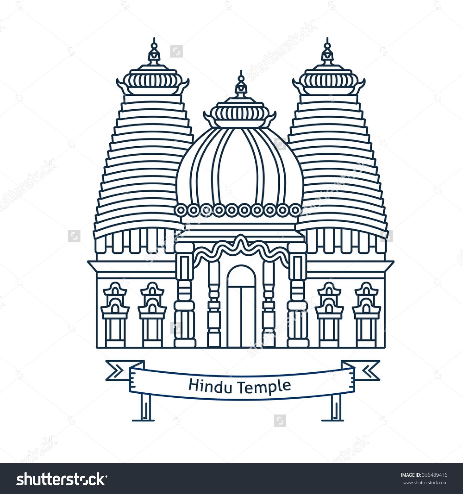 Hindu Temple Hinduism Symbol Indian Temple Stock Vector 366489416.