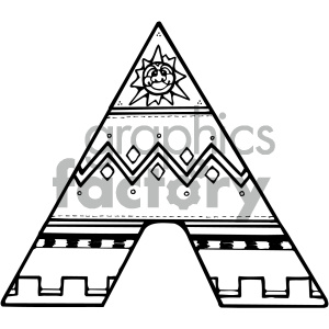 black and white Indian tent clipart. Royalty.