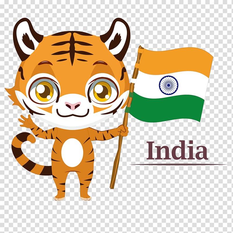 Bengal tiger Flag of India Illustration, India transparent.