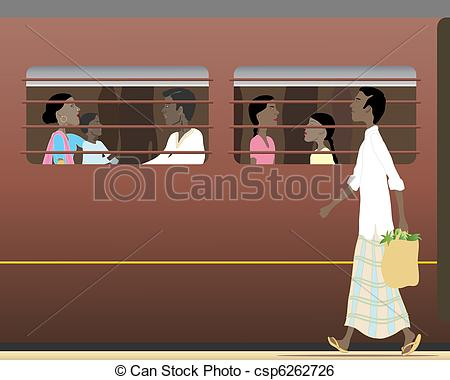 Clip Art Vector of indian train.