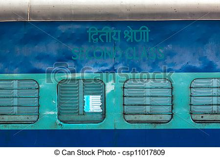 Stock Photography of Indian train second class coach, India.