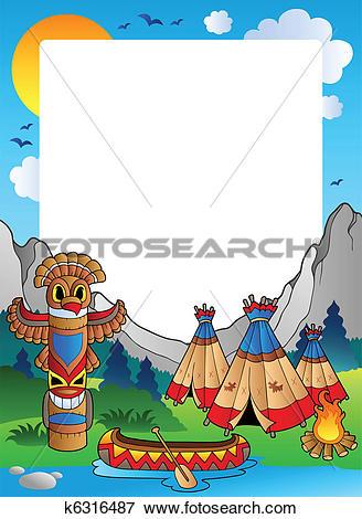 Clip Art of Frame with Indian village k6316487.