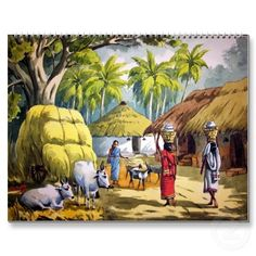 tamil village life paintings clipart.
