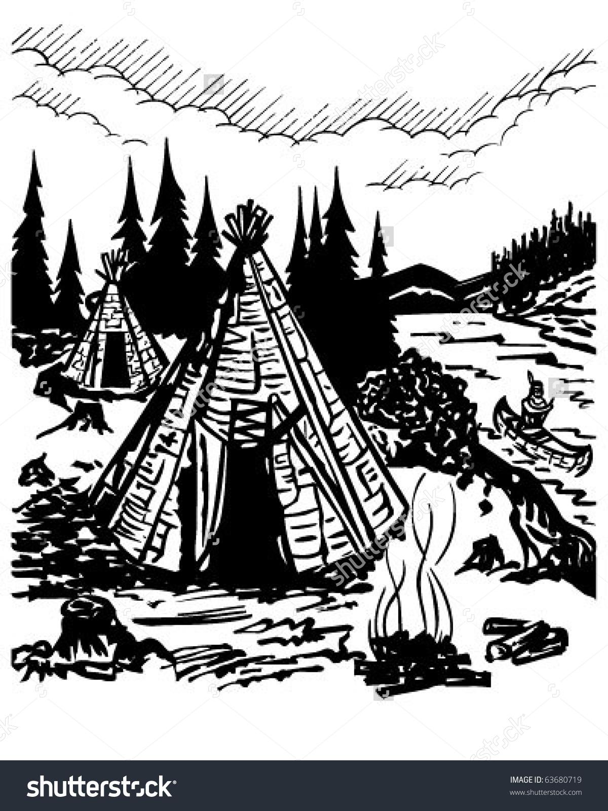 Indian Village Retro Clipart Illustration Stock Vector 63680719.