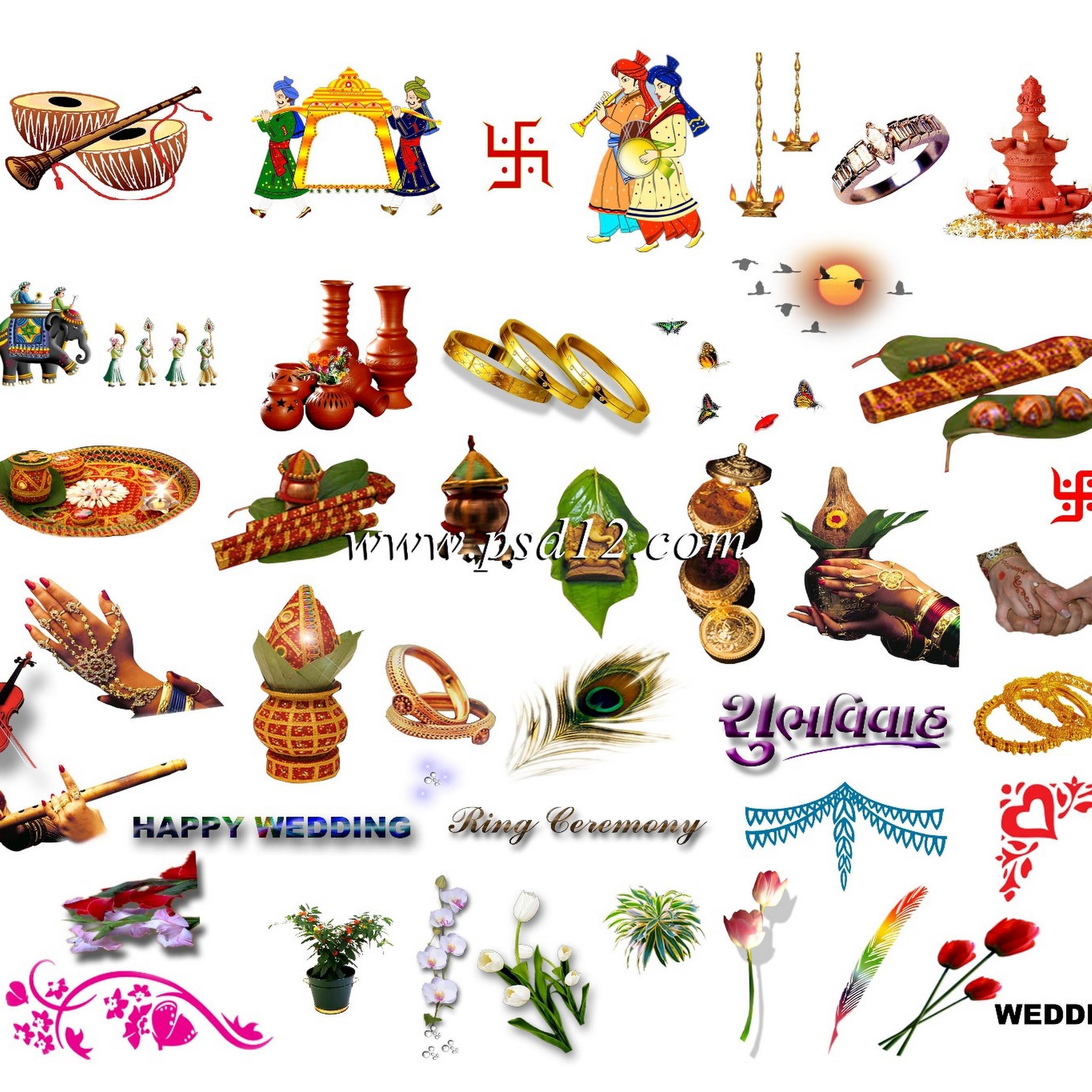 Indian Wedding Card Symbols Png (+).