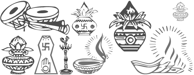 All in one font containing symbols of Indian weddings. in.