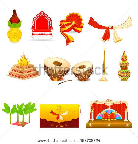 vector illustration of Indian wedding object.