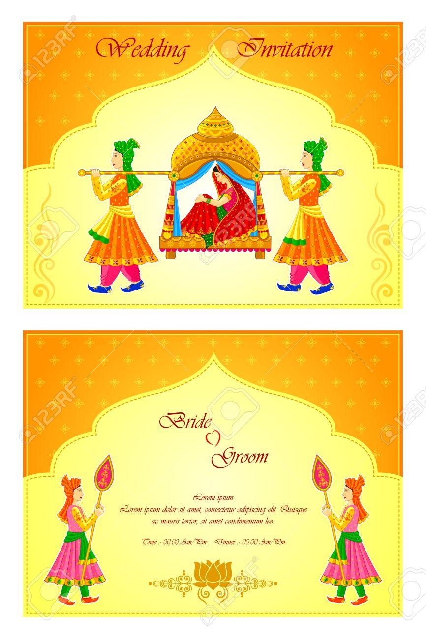 vector illustration of Indian wedding invitation card.