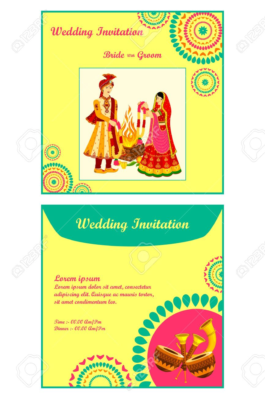 indian wedding invitation color clipart - Clipground