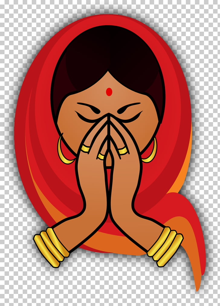 India , welcome, woman in red headscarf praying illustration.