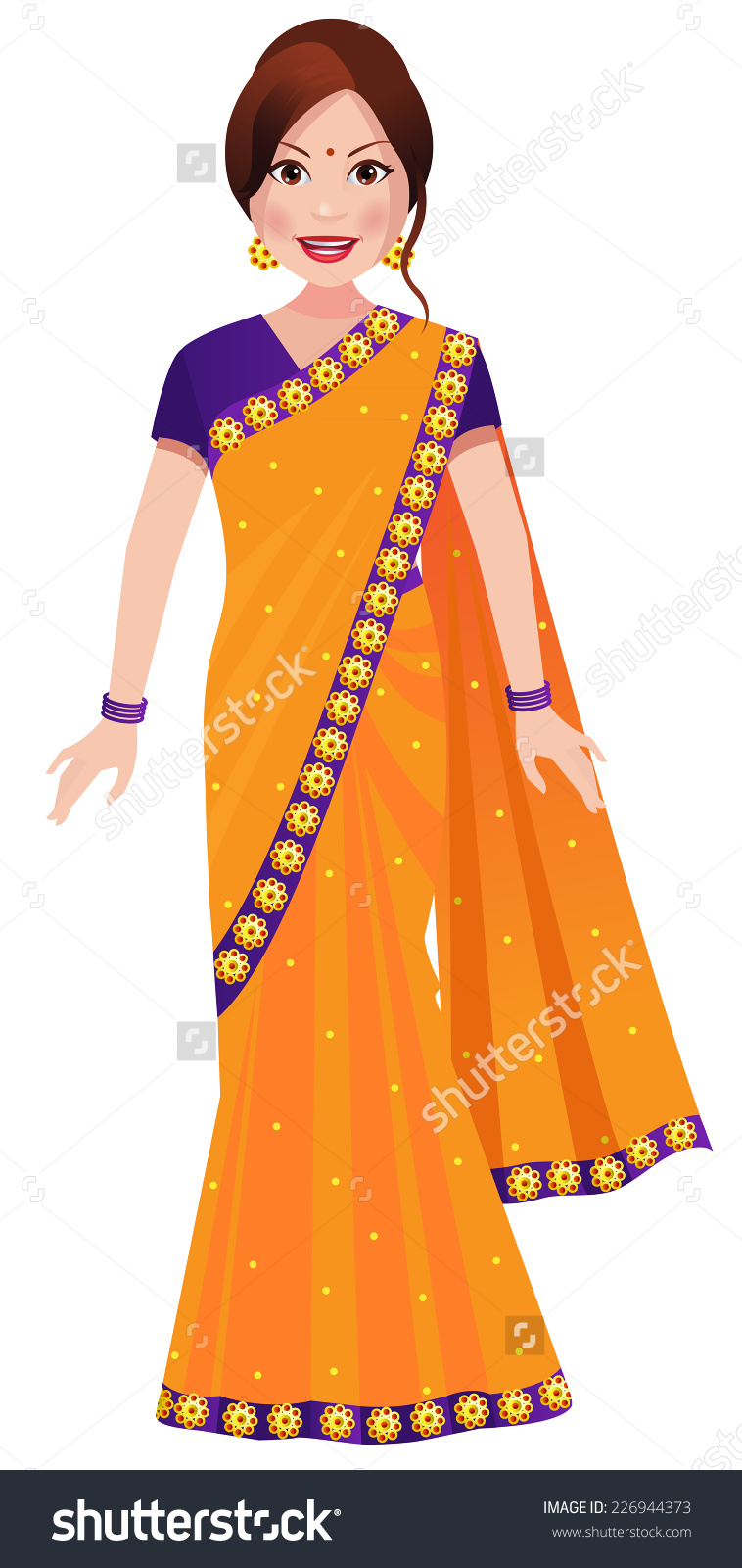 Traditional Indian Woman Clipart.