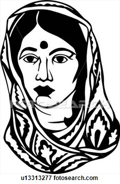 Indian woman clipart black and white 6 » Clipart Station.