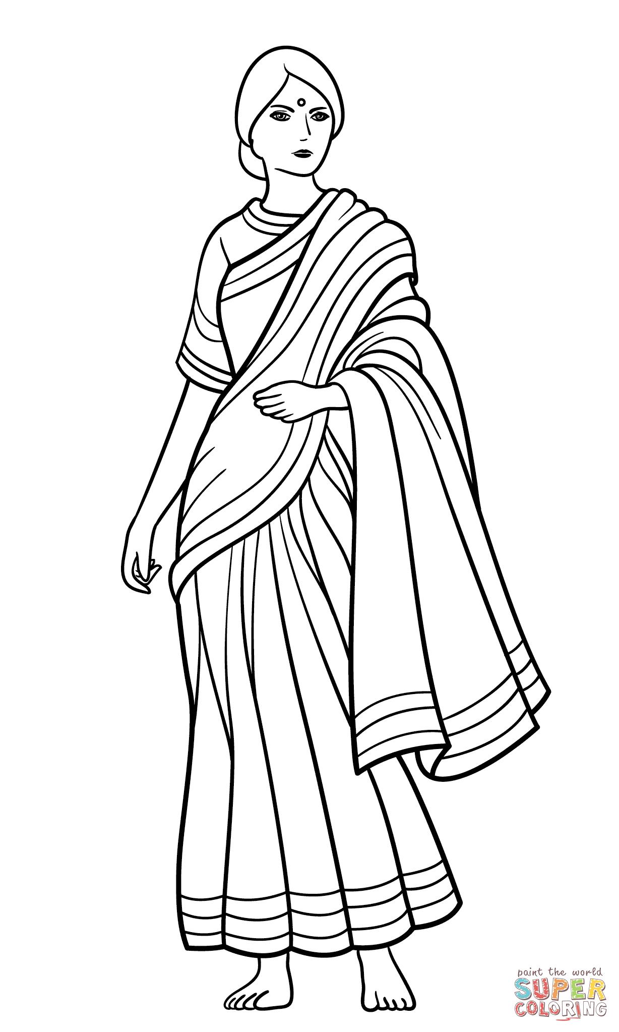 Sari clipart black and white.