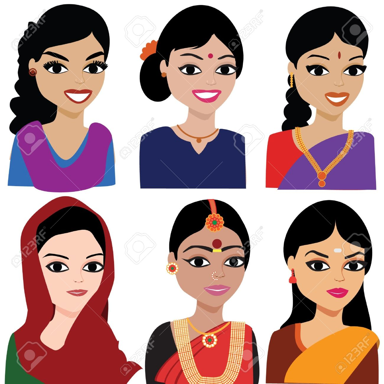 Woman from india clipart.