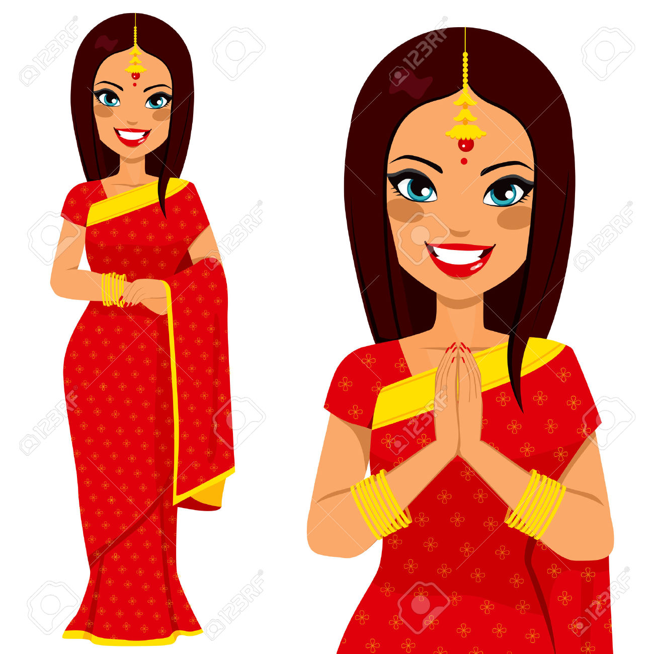 Indian woman clipart praying.