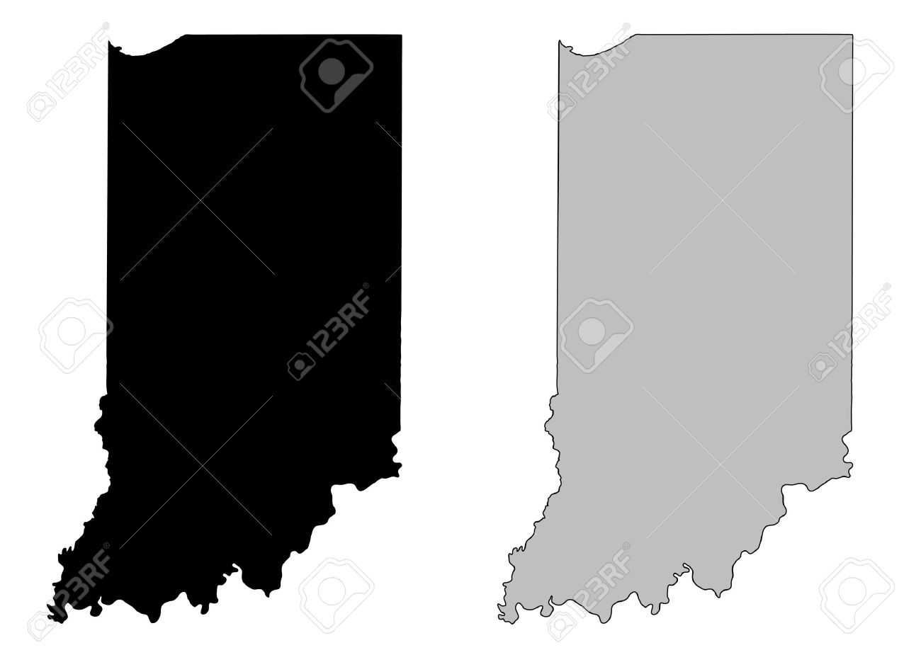 Indiana Outline Clipart Vector.