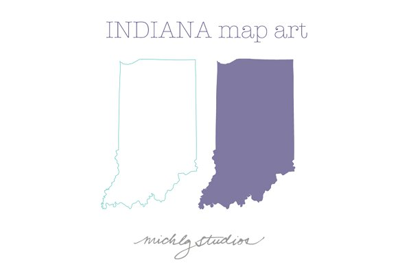 Indiana VECTOR & PNG map clipart ~ Illustrations on Creative Market.