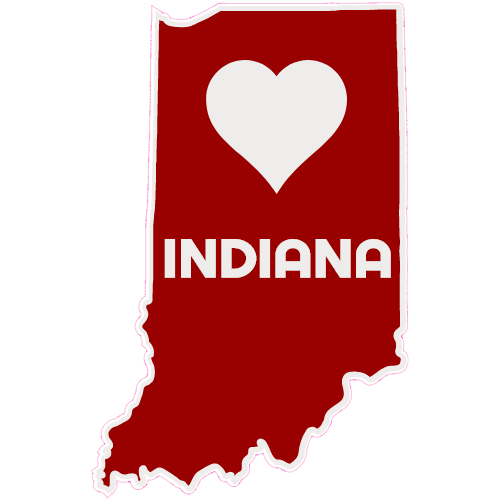 Indiana Heart State Shaped Sticker.