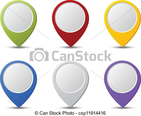Vector Clip Art of Map pointers.