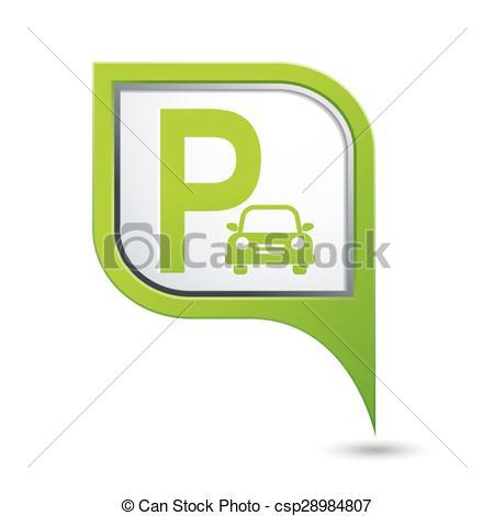 Vector Clipart of mapa, estacionamiento, verde, indicador, señal.