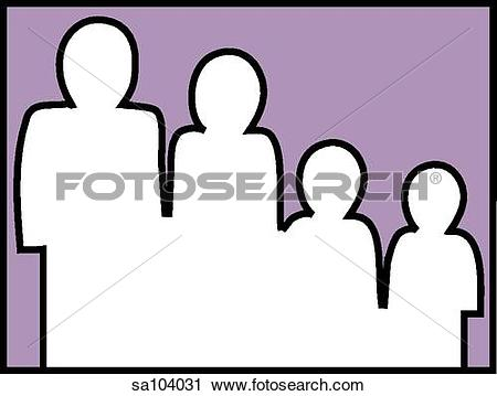 Clipart of Graphic outline of four figures whose relative sizes.