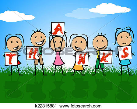 Clipart of Kids Thanks Indicates Child Gratefulness And Appreciate.