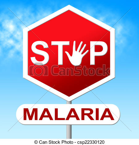 Clip Art of Stop Malaria Indicates Warning Sign And Caution.