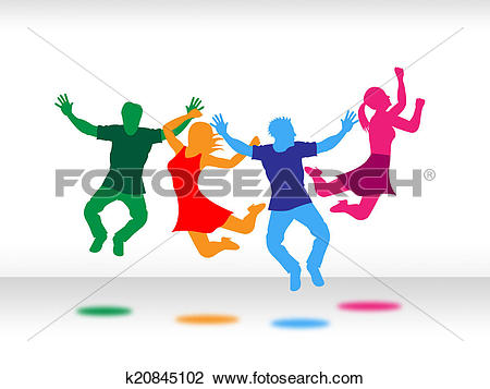 Clip Art of Joy Kids Indicates Jubilant Active And Youngsters.