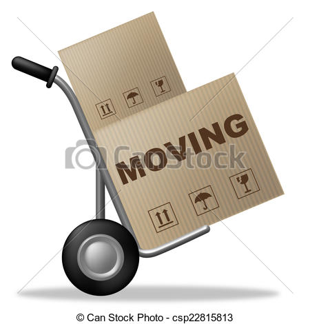 Clipart of Moving House Indicates Buy New Home And Box.