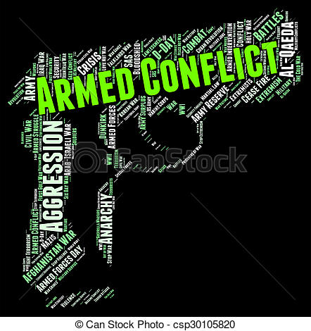 Clip Art of Armed Conflict Indicates Struggle Engagement And War.