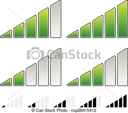 Vector Clip Art of Signal Strength Indicator Symbol Set.