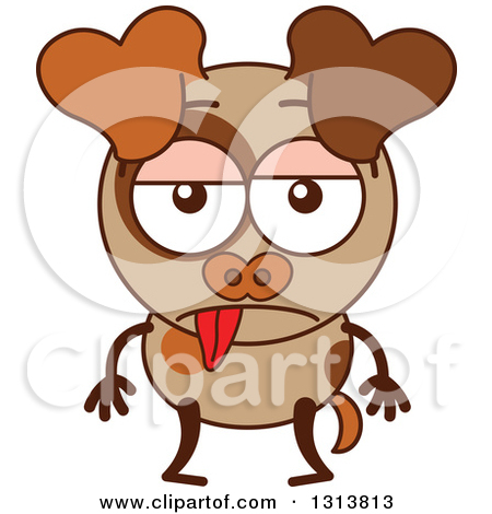 Clipart of a Cartoon Indifferent Brown Dog Character.