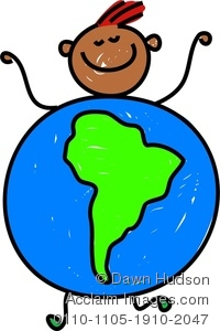 Clipart Image of A Happy Little Boy Dressed Up As A Globe Of South.