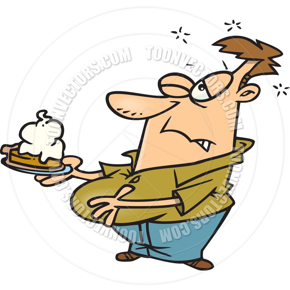 Cartoon Man Eating Pumpkin Pie by Ron Leishman.