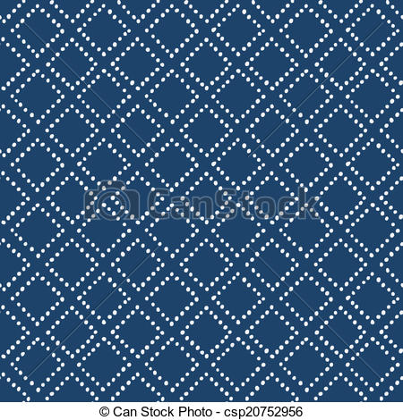 Clipart Vector of Indigo blue hand drawn seamless pattern, vector.