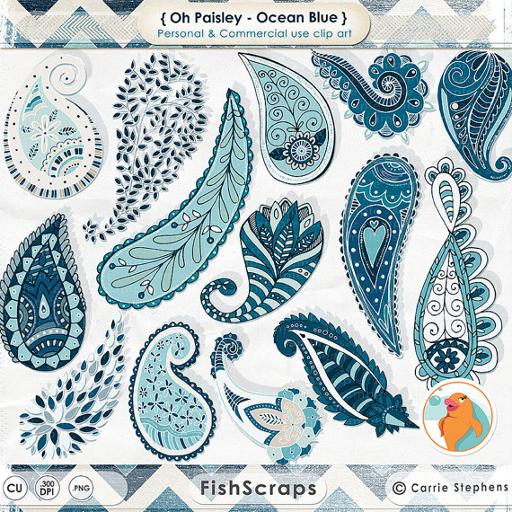 Paisley Digital Clip Art, Navy Blue Hand Drawn Paisley ClipArt.