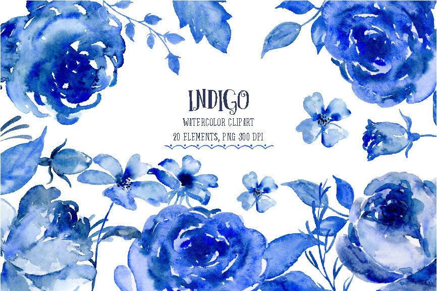 Watercolor Clipart Indigo indigo and blue flowers.