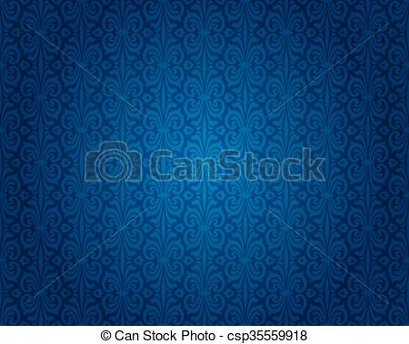 Vector Clip Art of Indigo blue vintage wallpaper background.