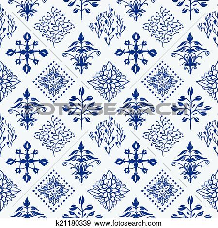 Clip Art of Indigo blue hand drawn seamless pattern k21180339.