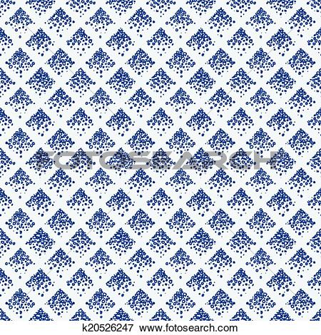 Clip Art of Indigo blue hand drawn seamless pattern k20526247.
