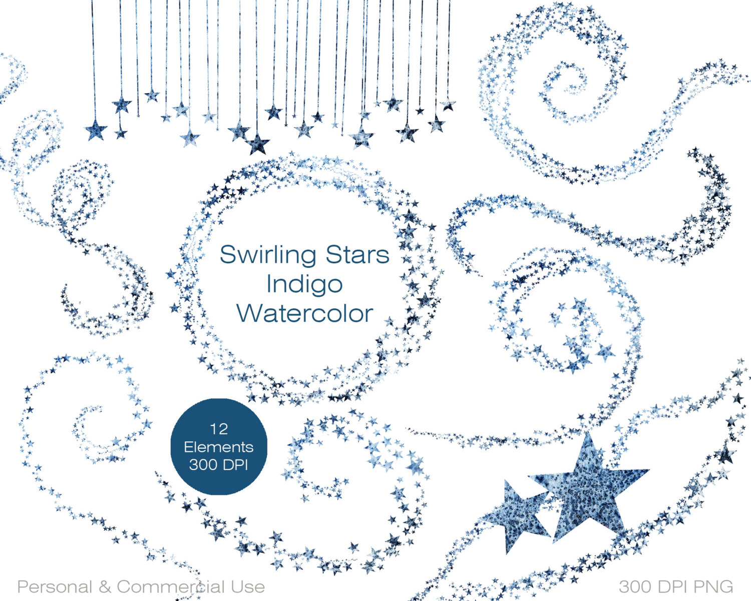 INDIGO BLUE WATERCOLOR Star Clipart Commercial Use Clipart Blue.