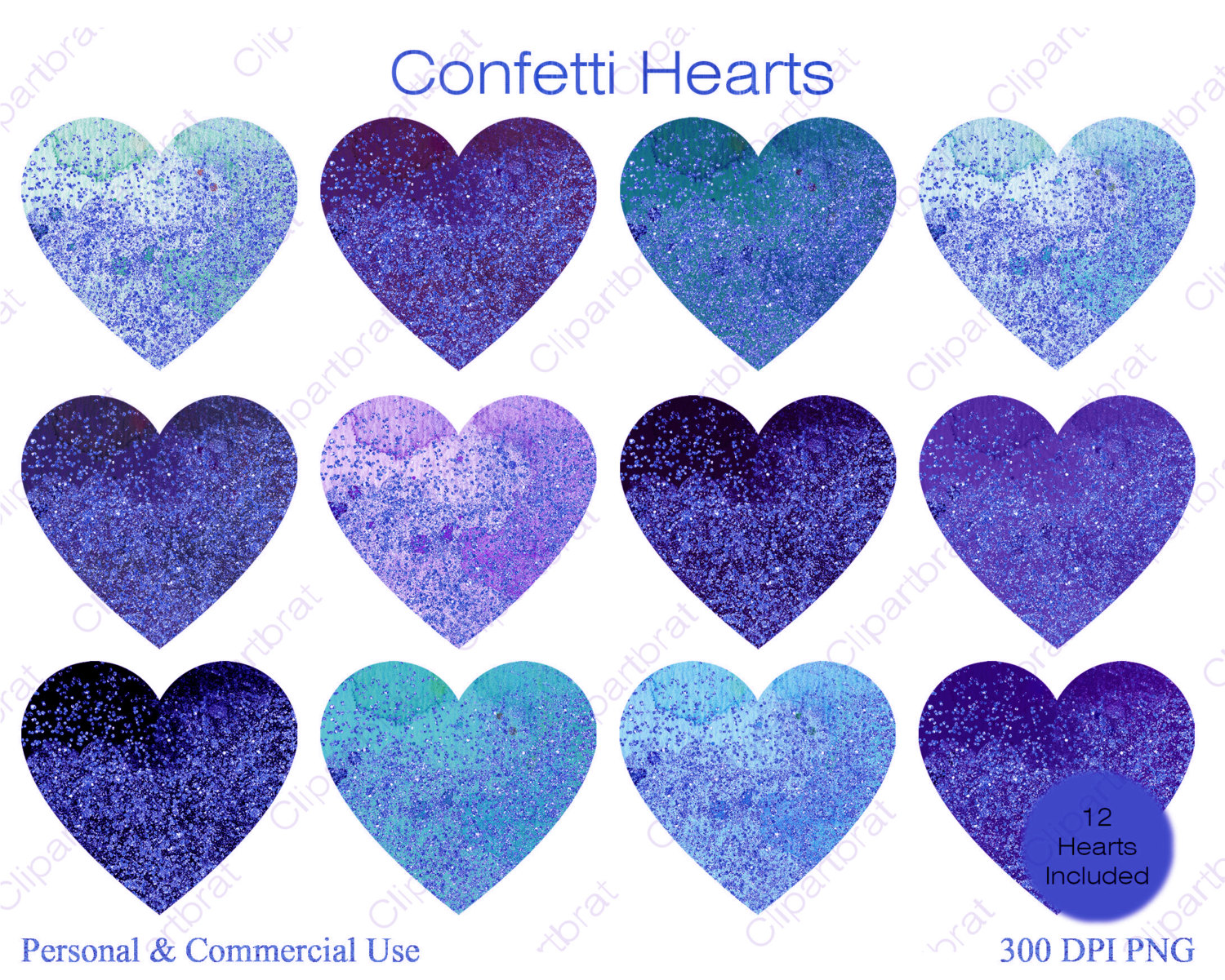 BLUE WATERCOLOR HEART Clipart Commercial Use Clipart 12 Watercolor.