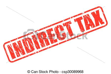Clip Art Vector of INDIRECT TAX red stamp text on white.