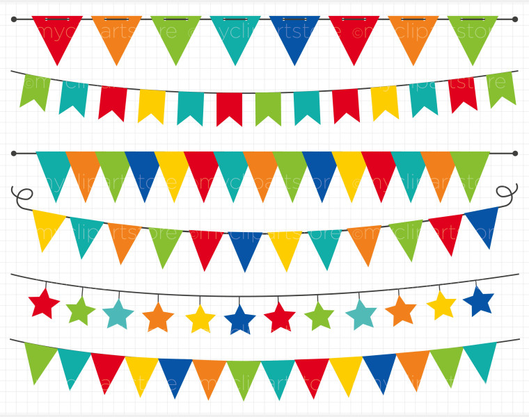 Primary Colors Flag Banner Clipart.