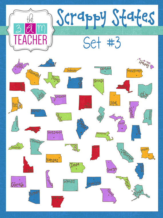 50 Individual States Clipart.