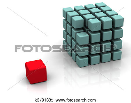 Stock Illustration of One individuality red cube k3791335.